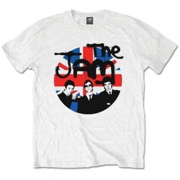 Rock Off The Jam Union Jack Circle Tshirt in White