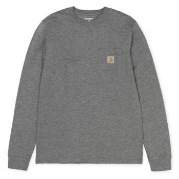 Carhartt Wip long sleeved Pocket T Shirt in Dark Grey Heather