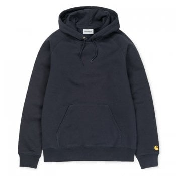Carhartt Wip Hooded Chase Sweat Dark Navy with embroidered gold Carhartt C logo
