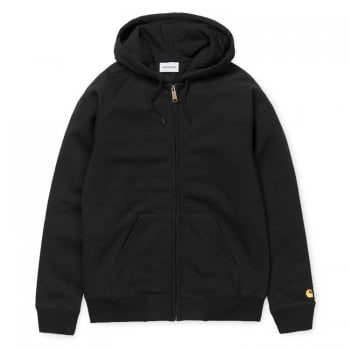 """Carhartt Wip Hooded Chase Jacket Black with gold embroidered Carhartt """"C"""" logo"""