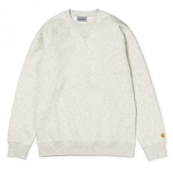 Carhartt Wip Chase Sweat in Ash Heather with embroidered gold Carhartt C logo