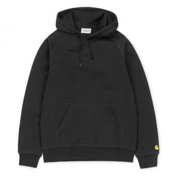 Carhartt Wip Hooded Chase Sweat in Black with gold embroidered C logo