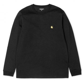 "Carhartt Wip long sleeved Chase T shirt Black with gold coloured embroidered Carhartt ""C"" logo"