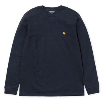 Carhartt Wip long sleeved Chase T shirt in Dark Navy with embroidered gold Carhartt C logo
