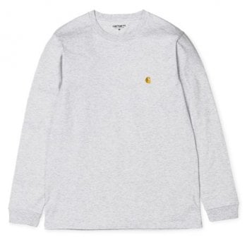 """Carhartt Wip long sleeved Chase T shirt in Ash Heather with gold coloured embroidered Carhartt """"C"""" logo"""