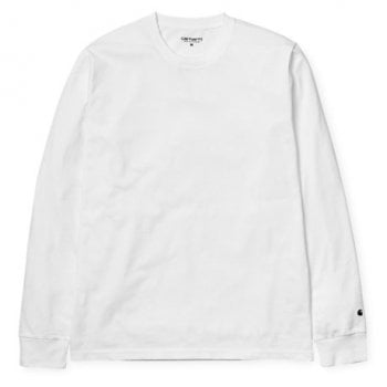 Carhartt Wip long sleeved base Tshirt in White/black