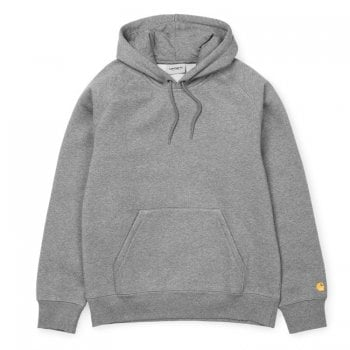 Carhartt Wip Hooded Chase Sweat Grey Heather with embroidered gold Carhartt C logo