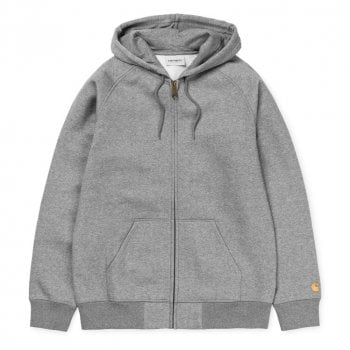 """Carhartt Wip Hooded Chase Jacket Grey Heather with gold embroidered Carhartt """"C"""" logo"""