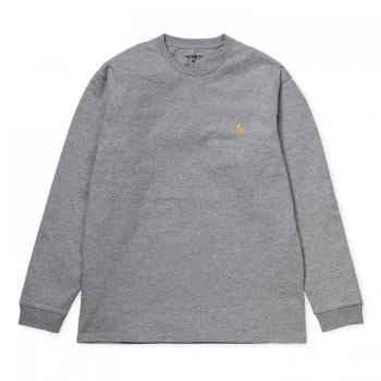 Carhartt Wip long sleeved Chase T shirt Grey Heather with embroidered gold Carhartt C logo