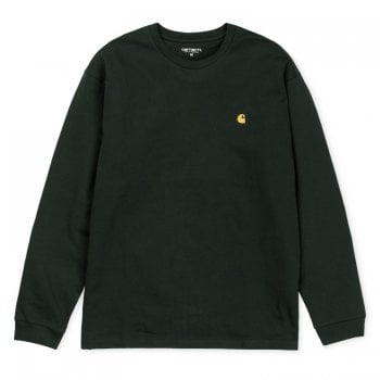 Carhartt Wip long sleeved Chase T shirt Bottle Green with embroidered gold Carhartt C logo