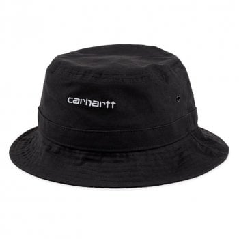 Carhartt Wip Script Bucket Hat in Black with white embroidered Carhartt Script logo