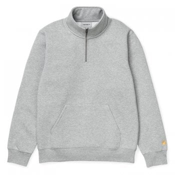 Carhartt Wip Chase Neck Zip Sweat Grey Heather with gold embroidered Carhartt C logo