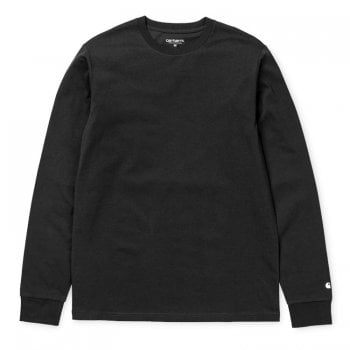 "Carhartt Wip long sleeved Base T shirt Black with white Carhartt ""C"" logo on cuff"