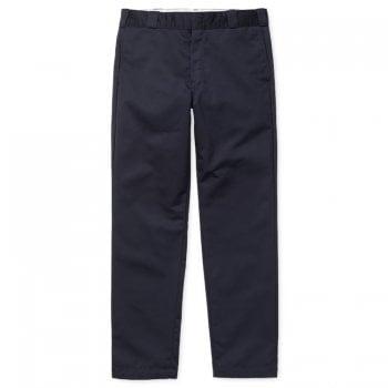 Carhartt Wip Master Pants in dark navy rinsed 8.8 oz poly/cotton Denison twill