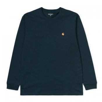 Carhartt Wip L/s Chase Tshirt Duck Blue/gold