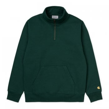 Carhartt Wip Chase Neck Zip Sweat Dark Fir/gold
