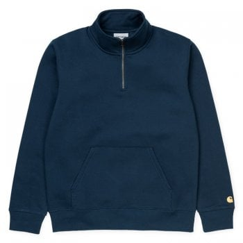Carhartt Wip Chase Neck Zip Sweat Duck Blue/gold