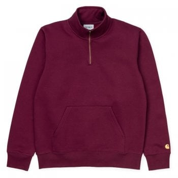 Carhartt Wip Chase Neck Zip Sweat Merlot/gold