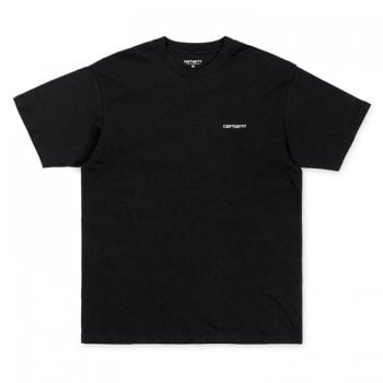 Carhartt Wip short sleeved Script Embroidery T-shirt in Black with white embroidered Carhartt logo