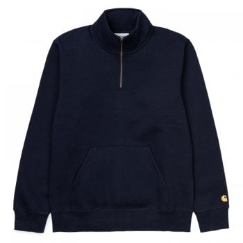 Carhartt Wip Chase Neck Zip Sweat in in Dark Navy with gold embroidered Carhartt C logo