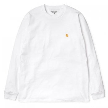 Carhartt Wip long sleeved Chase T shirt in White with embroidered gold Carhartt C logo