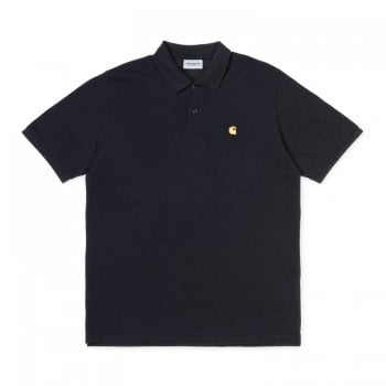 Carhartt Wip Chase Pique Polo in Black cotton