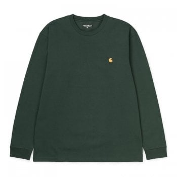 "Carhartt Wip long sleeved Chase T shirt Treehouse green with gold coloured embroidered Carhartt ""C"" logo"