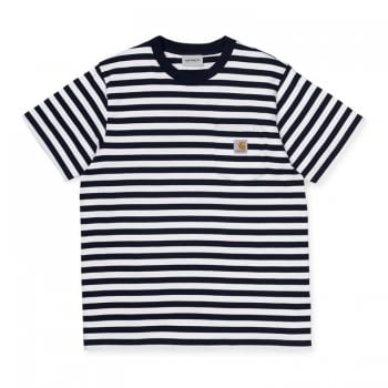 Carhartt Wip short sleeved Scotty Pocket T shirt in Dark Navy with white stripes