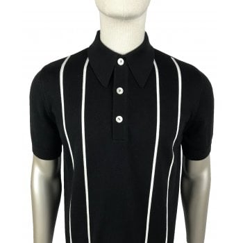 Ska And Soul S/s Striped Knit Polo Black/white