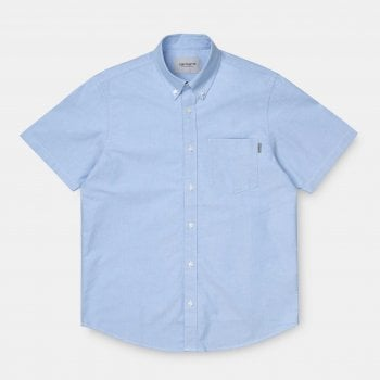 Carhartt Wip S/s Button Down Pocket Shirt in Bleach blue