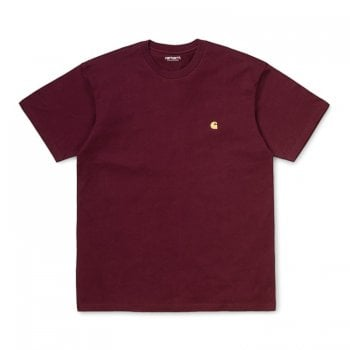 Carhartt Wip S/s Chase Tshirt in Bordeaux/gold