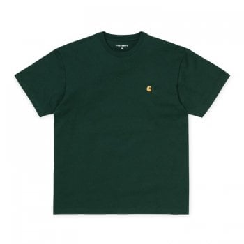 Carhartt Wip short sleeved Chase T shirt in Dark Teal/gold