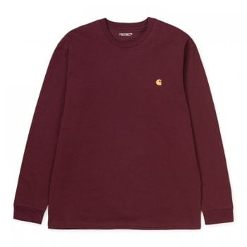 Carhartt Wip L/s Chase Tshirt in Bordeaux/gold