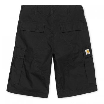 Carhartt Wip Regular Cargo Shorts in Black Rinsed 6.5 oz Columbia ripstop cotton