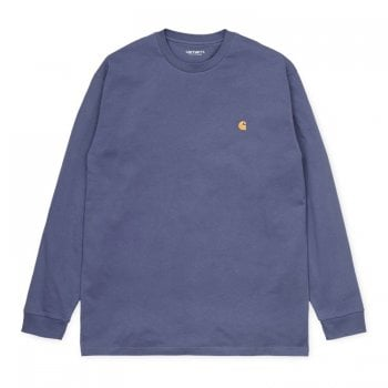 Carhartt Wip long sleeved Chase T shirt Cold in Viola/gold