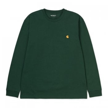 Carhartt Wip L/s Chase Tshirt in Dark Teal/gold