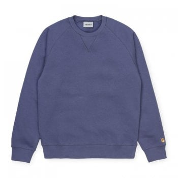 Carhartt Wip Chase Sweat Cold Viola with gold Carhartt C embroidered logo