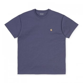 Carhartt Wip short sleeved Chase T shirt in Cold Viola with gold embroidered Carhartt C logo