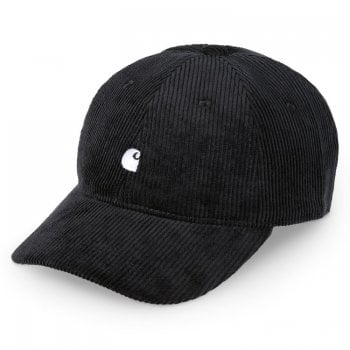 Carhartt Wip Harlem Cap in Black with wax coloured embroidered Carhartt C Logo