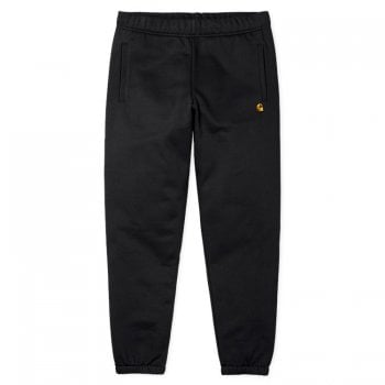 Carhartt Wip Chase Sweat Pants in Black with gold embroidered Carhartt C logo