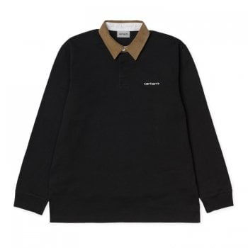 Carhartt Wip L/s Cord Rugby Polo Black/ Hamilton Brown/white