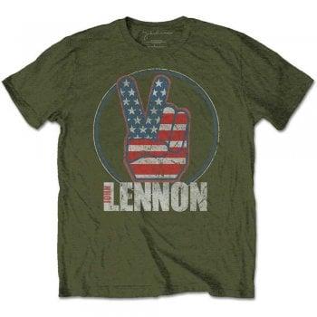 Rock Off Lennon Peace Fingers Us Flag Green