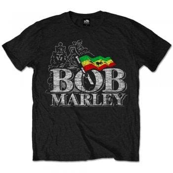 Rock Off Bob Marley Distress Logo T Shirt Black