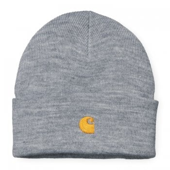 Carhartt Wip Chase Beanie in Grey Heather/gold