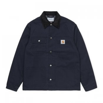 Carhartt Wip Michigan Coat in Dark Navy Rigid Dearborn canvas