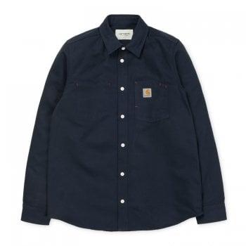 Carhartt Wip long sleeved Tony Tshirt in dark navy rigid Utah cotton canvas