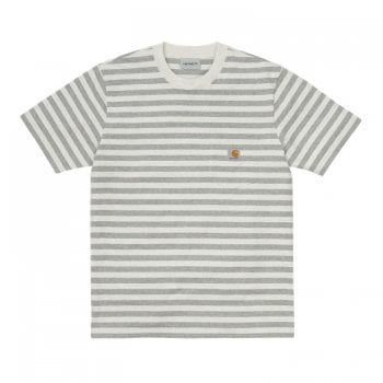 Carhartt Wip short sleeved Scotty Pocket T Shirt in grey and white stripes