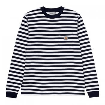 Carhartt Wip long sleeved Scotty Pocket T Shirt in black and white stripes