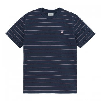 Carhartt Wip short sleeved Denton T Shirt in space blue and malaga stripes
