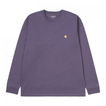 Carhartt Wip long sleeved Chase T shirt in Provence Purple with gold embroidered logo
